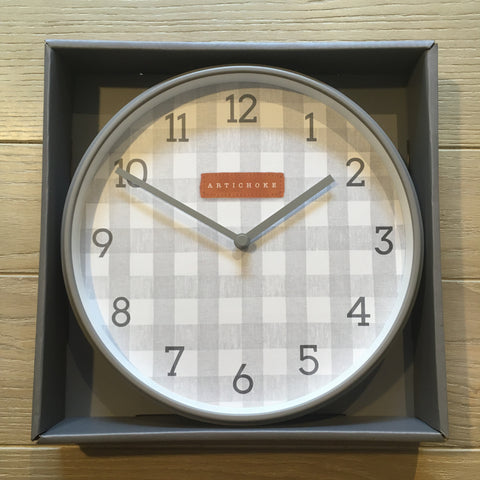Artichoke Design Gingham Clock