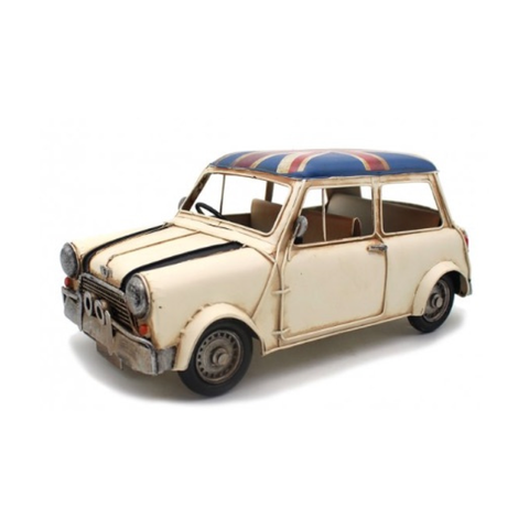 Vintage Cream Mini with Union Jack Flag Decal