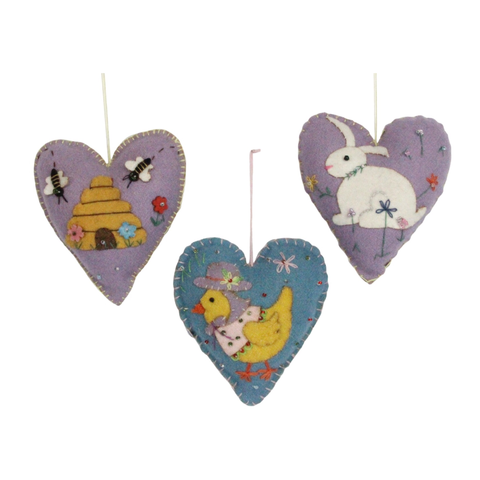 Gisela Graham Felt Easter Hearts (Set of 3)
