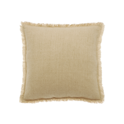 Linen and Cotton Fringed Cushion (Natural)