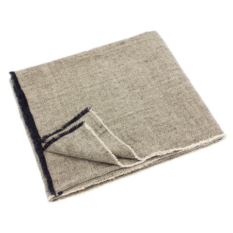 Linen and Cotton Fringed Throw (Charcoal)