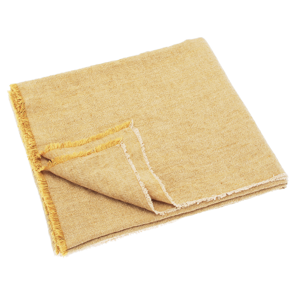 Linen and Cotton Fringed Throw (Mustard)