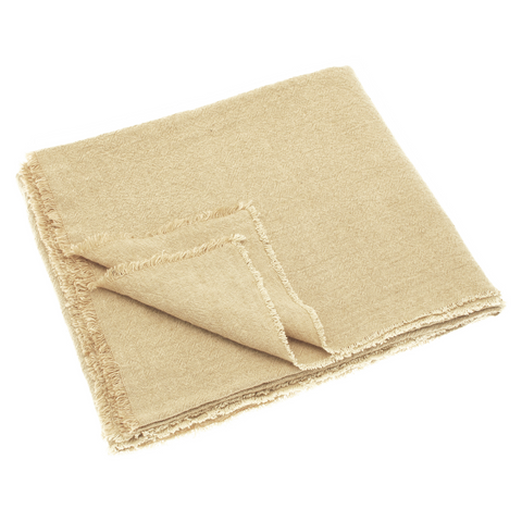 Linen and Cotton Fringed Throw (Natural)