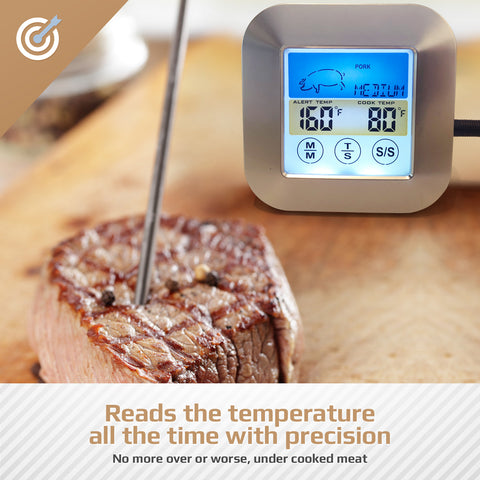 Color Instant Read Digital Meat Thermometer | 3 Waterproof Stainless Steel Temperature Probes | Best for Cooking Food in Ovens, BBQ, Smoker and Grilling Red or White Meat, Turkey, Even Candy, Silver