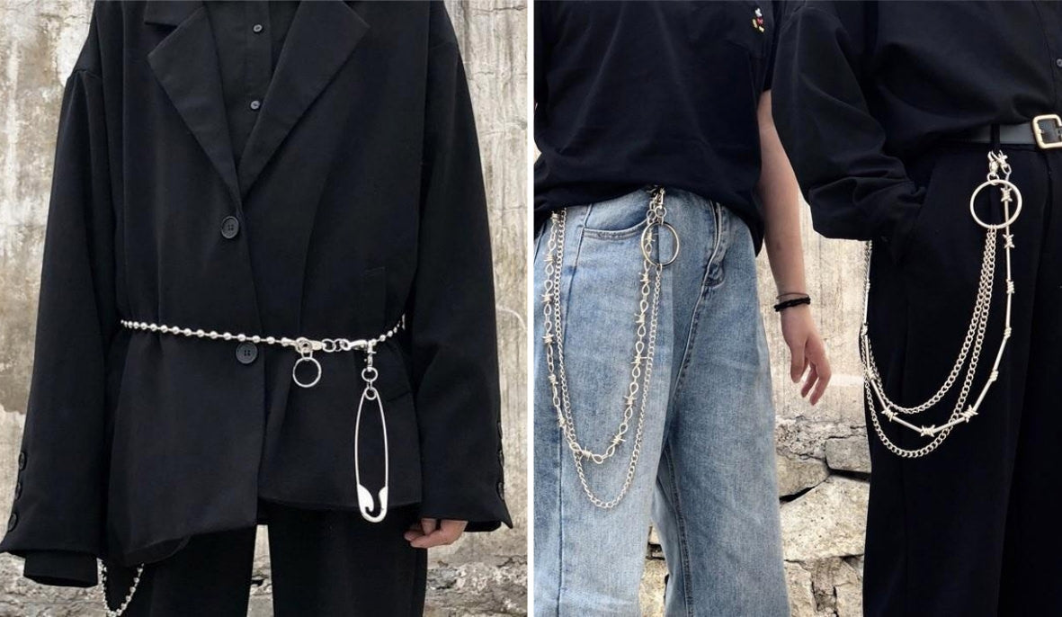Aesthetic Grunge Accessories Punk Aesthetic Waist Belt Pin Chains itGirl Shop Blog