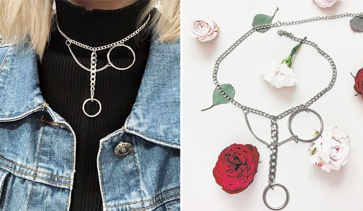 Aesthetic Grunge Accessories Two Metallic Rings Chains Choker Necklace itGirl Shop Blog