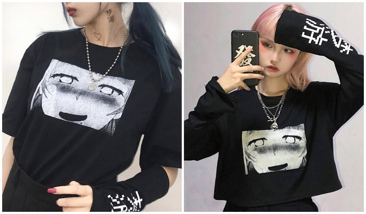 Anime Aesthetic Clothing Compilation Anime Black T-shirt With Sleeves itGirl Shop Blog