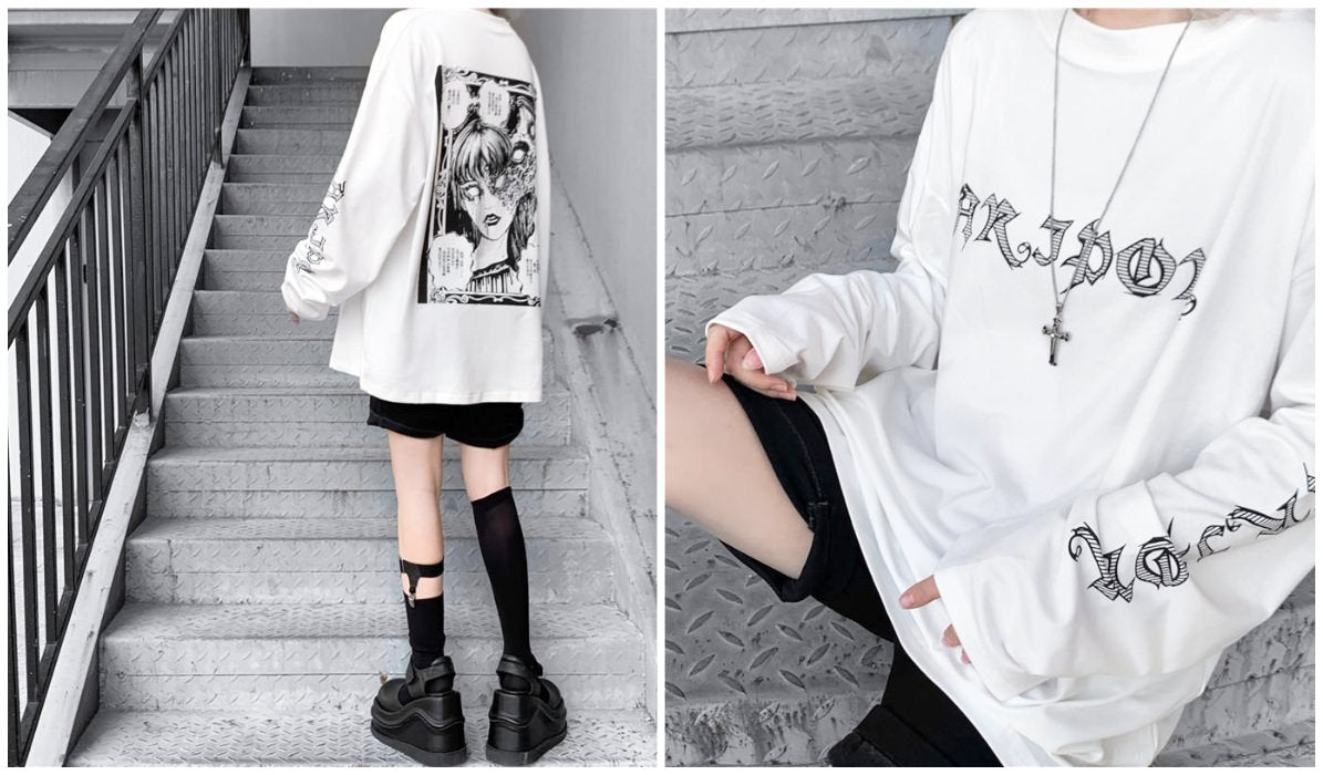 Anime Aesthetic Clothing Compilation Anime Horror Manga Sweatshirt itGirl Shop Blog