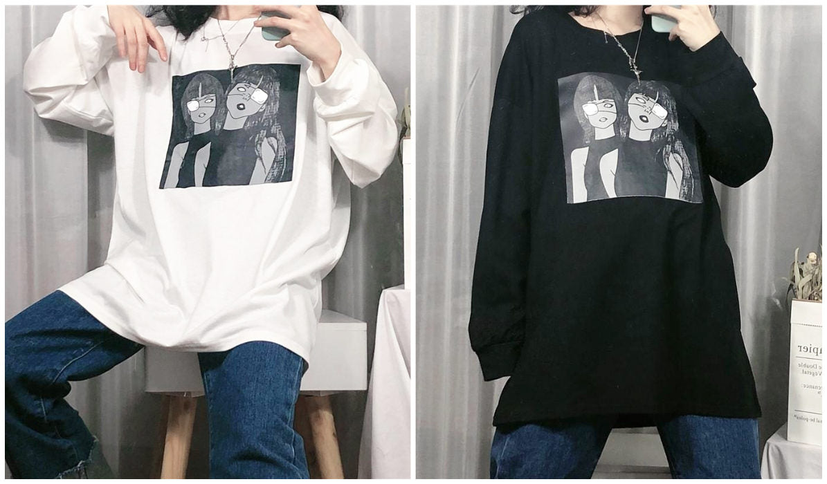 Anime Aesthetic Clothing Compilation Creepy Girls Manga Long Sleeve Shirt T-shirt Blog