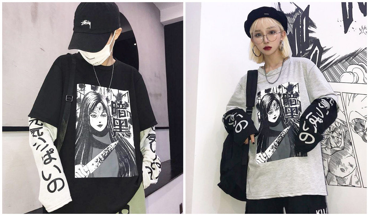 Anime Aesthetic Clothing Compilation Tomie Horror Manga Two-Piece T-shirt Blog