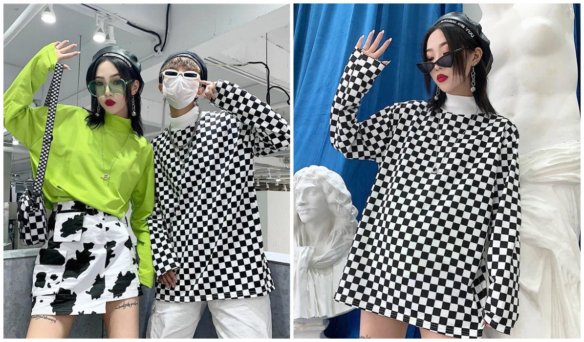 Checkered Grid Outfits Compilation Bright Kpop Checkered Long Sleeve itGirl Shop Blog