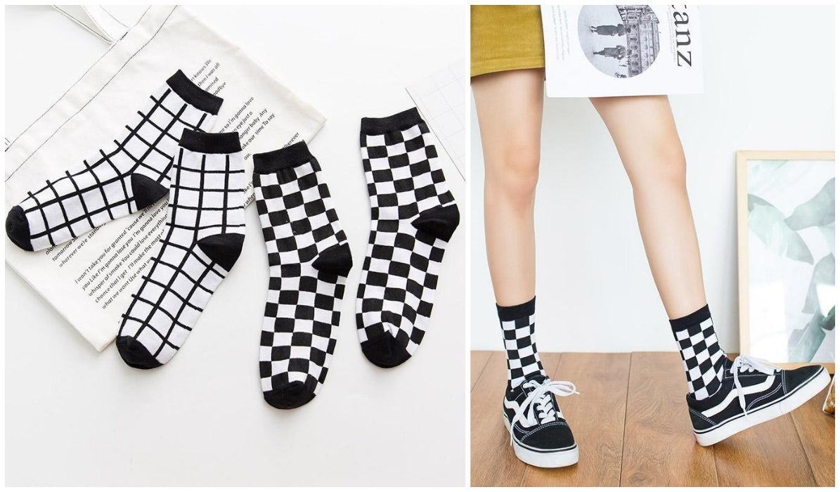 Checkered Grid Outfits Compilation Checkered Grid Aesthetic Socks itGirl Shop Blog