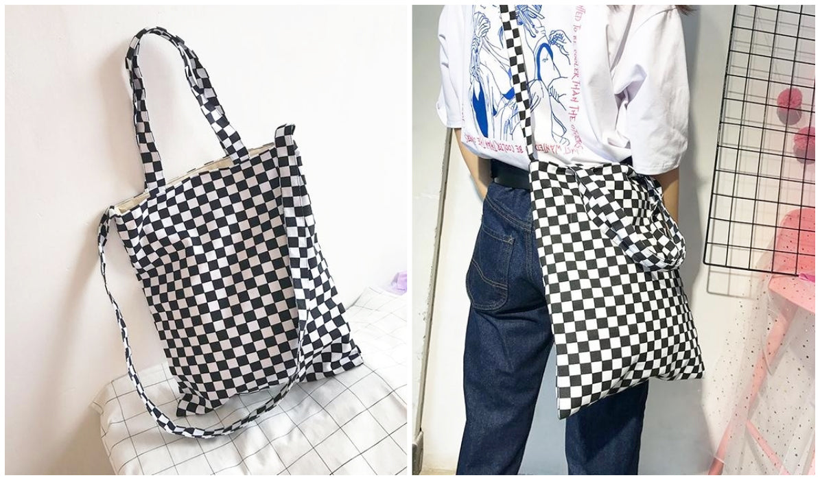 Checkered Grid Outfits Compilation Checkered Grid Bw Tote Canvas Bag itGirl Shop Blog