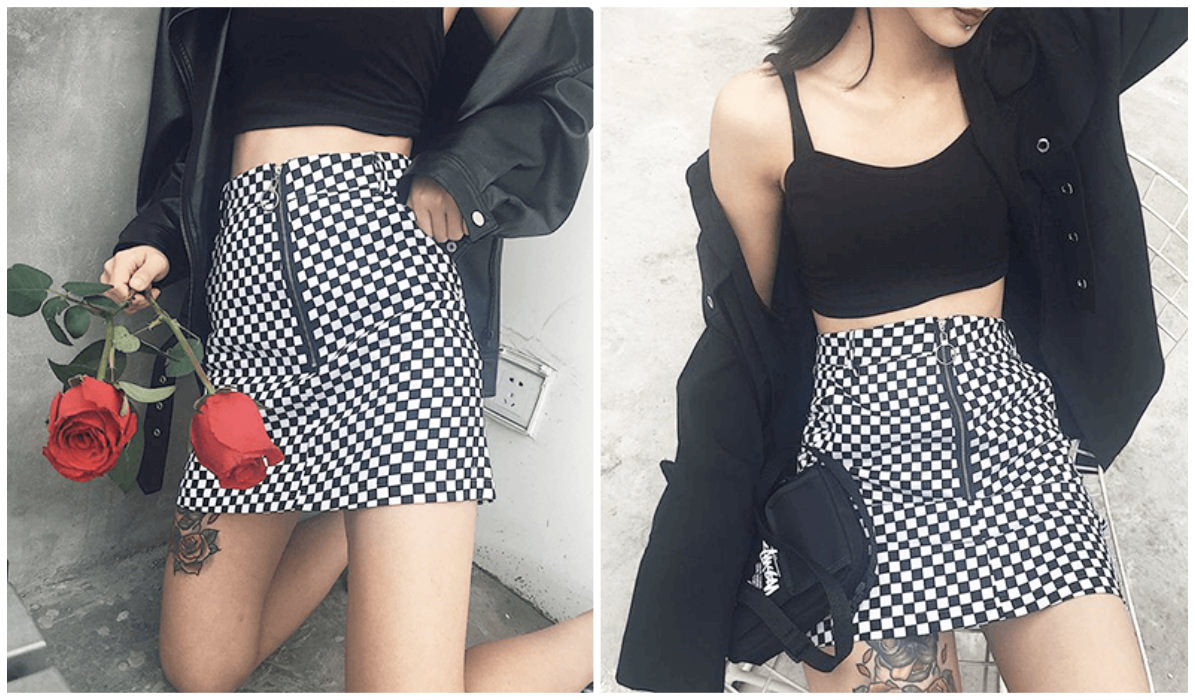 Checkered Grid Outfits Compilation Checkered Grid Front Zipper Skirt itGirl Shop Blog