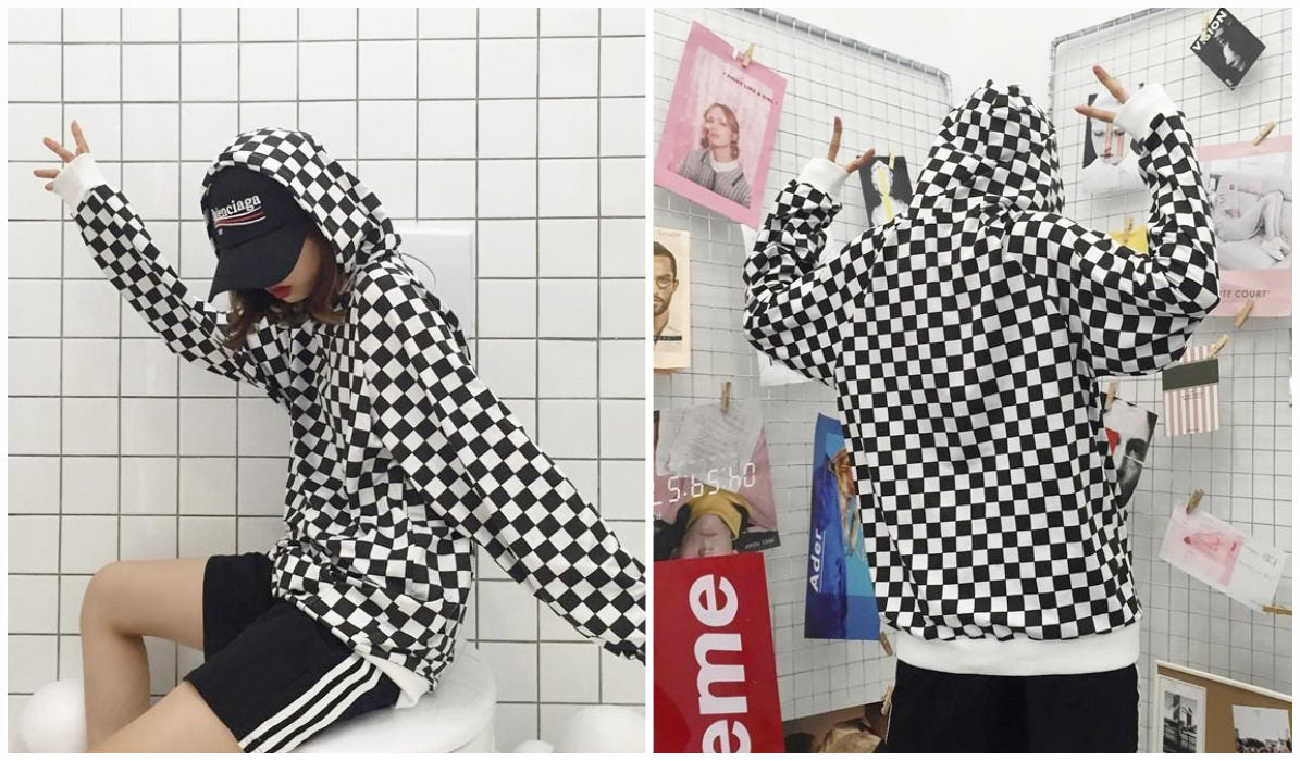 Checkered Grid Outfits Compilation Checkered Grid Grunge Hoodie itGirl Shop Blog