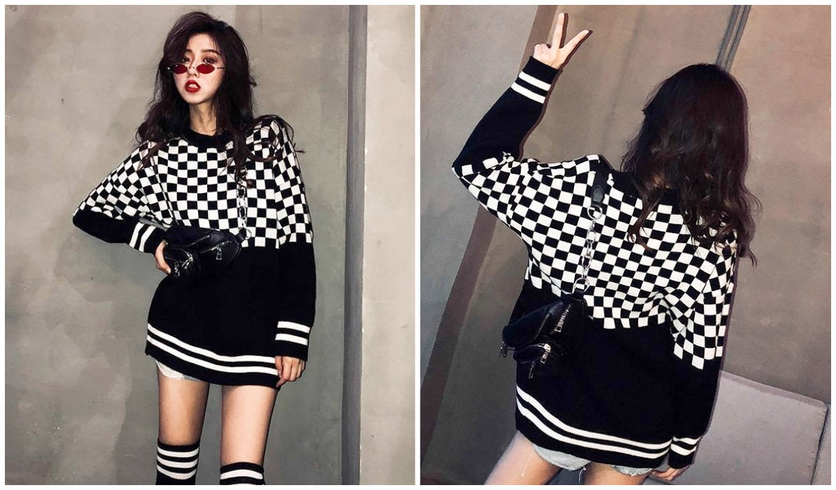 Checkered Grid Outfits Compilation Checkered Grid Oversized Sweatshirt itGirl Shop Blog.