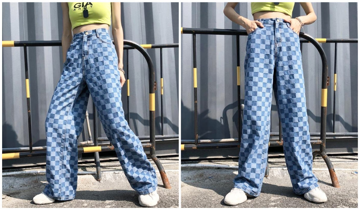 Checkered Grid Outfits Compilation Retro Checkered Washed Denim Pants itGirl Shop Blog