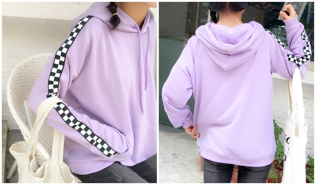 Checkered Grid Outfits Compilation Sweet Lilac Side Checkered Hoodie itGirl Shop Blog
