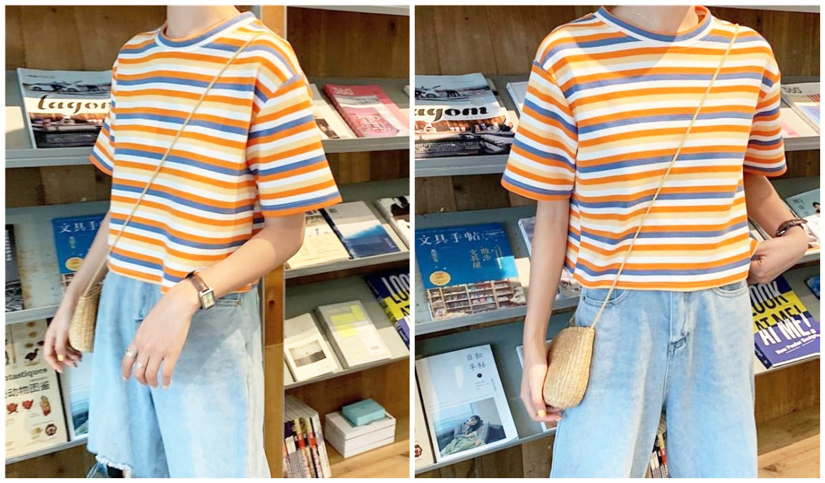 Rainbow Clothing and Accessories Apricot Stripes Summer Aesthetic Loose T-Shirt itGirl Shop Blog
