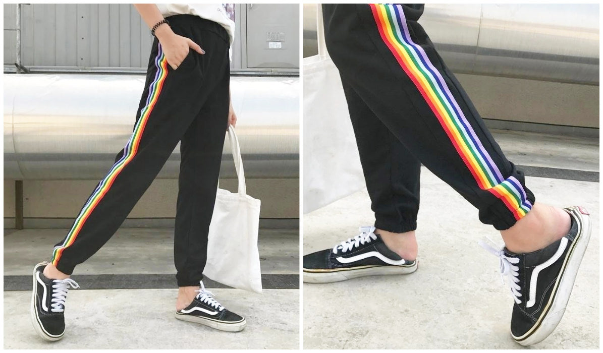 Rainbow Clothing and Accessories Black Bright Rainbow Lampasses Sweatpants itGirl Shop Blog