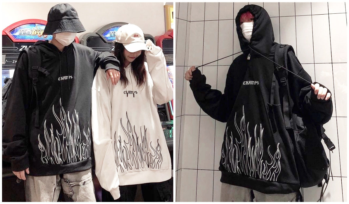 Top 11 Aesthetic Hoodies Kpop Flame Embroidery eGirl Hoodie itGirl Shop Blog