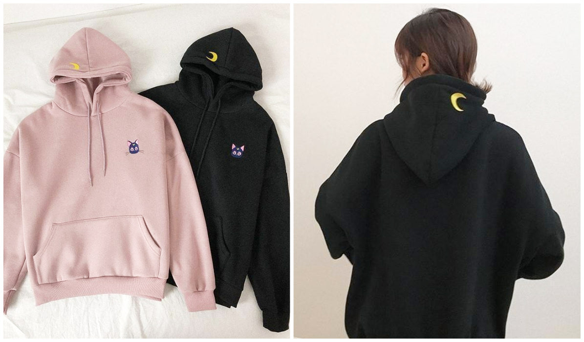 Top 11 Aesthetic Hoodies Sailor Moon Luna Cat Embroidery Hoodie itGirl Shop Blog