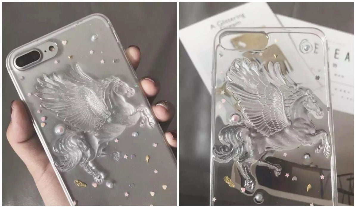 Transparent iPhone Cases Pegasus Transparent Sparkle iPhone Case itGirl Shop Blog