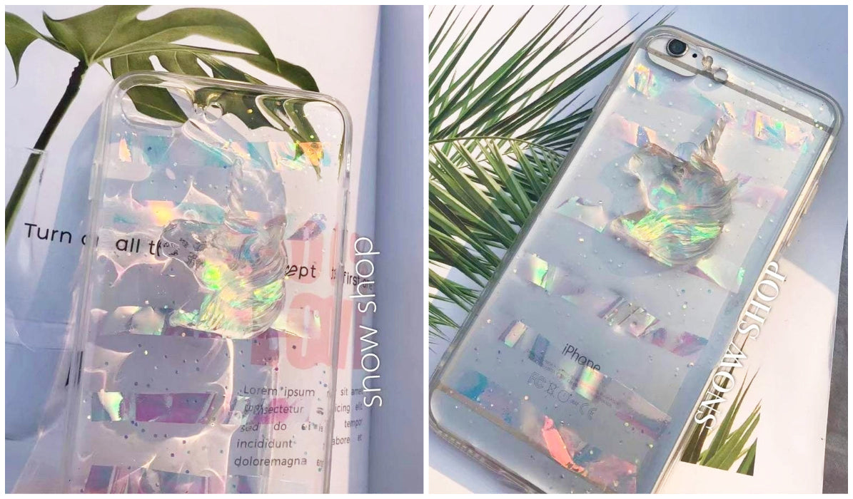 Transparent iPhone Cases Unicorn Holographic Glitter iPhone Case itGirl Shop Blog
