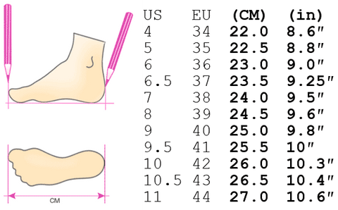 shoes size guide chart