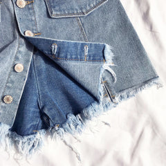 DENIM FRONT BUTTONS JEAN SKIRT WITH HIDDEN SHORTS