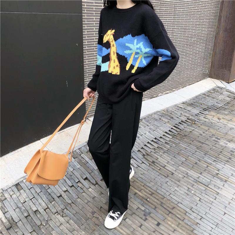 itGirl Shop 2 PIECE SET CARTOON SWEATER LONG FLARED PANTS SKIRT BLACK SUIT