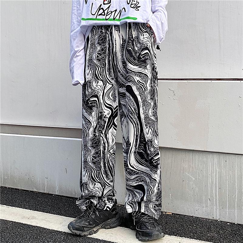 itGirl Shop ABSTRACT BLACK AND WHITE PATTERN ELASTIC WAIST STRAIGHT PANTS