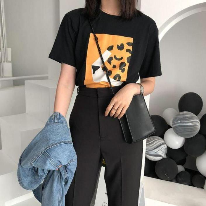 itGirl Shop ABSTRACT FRONT PRINTED BLACK WHITE OVERSIZED T-SHIRT