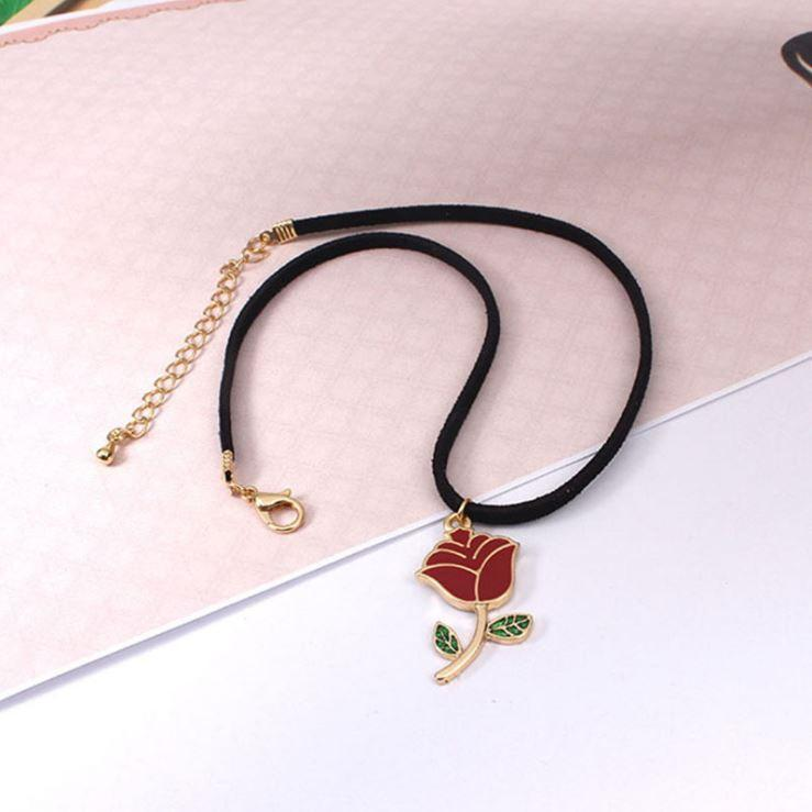 itGirl Shop ACRILIC RED ROSE NECKLACE CHOKER