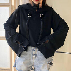 AESTHETIC BLACK FRINGE OVERSIZED HOOD CROP SWEATSHIRT