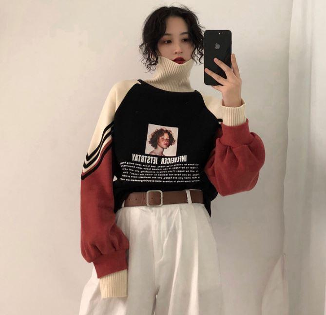 itGirl Shop AESTHETIC GIRL PRINT THICK HIGH COLLAR KNITTED SWEATER