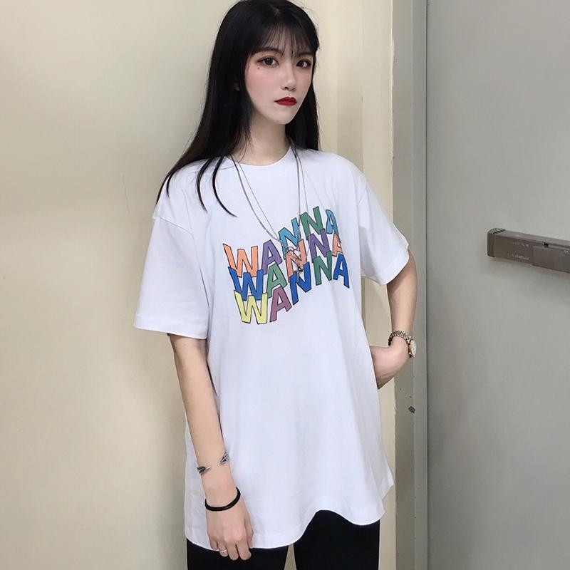 itGirl Shop WANNA COLORFUL LETTER PRINT ART HOE WHITE T-SHIRT