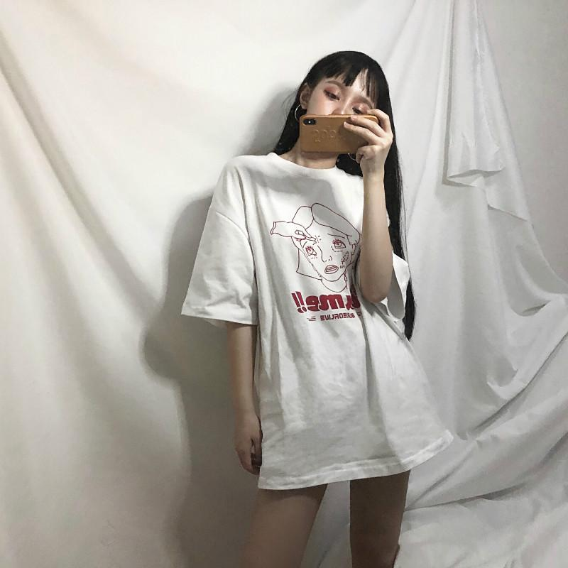 itGirl Shop ALICE FACE PLASTIC SURGERY PRINT OVERSIZED GRUNGE T-SHIRT