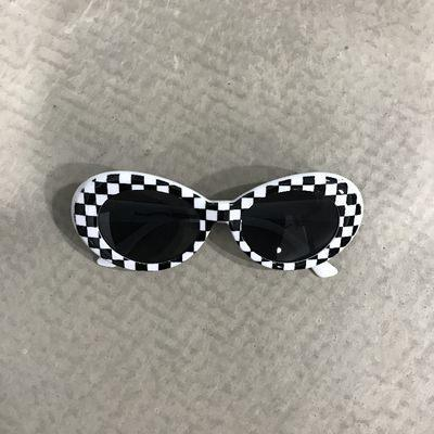 itGirl Shop ALIEN CHECKERED PLAID BW YELLOW PLASTIC GRUNGE SUNGLASSES