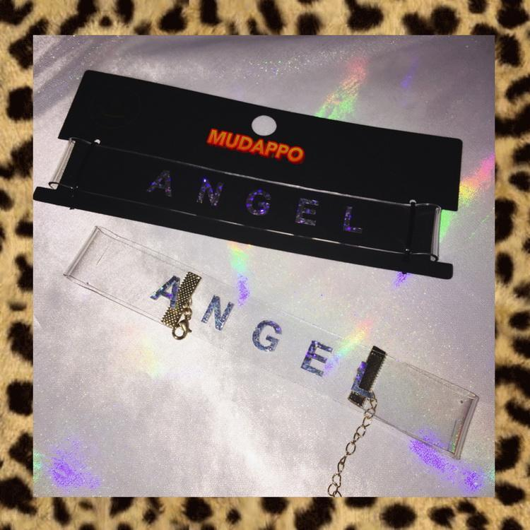 itGirl Shop ANGEL TRANSPARENT HOLOGRAPHIC GLITTER WIDE CHOKER