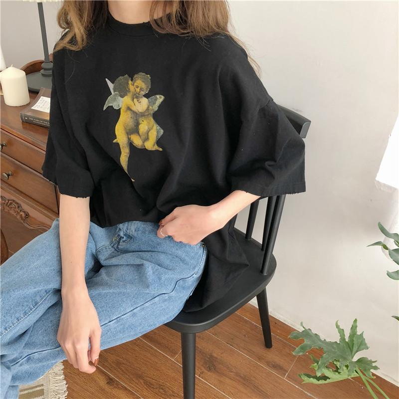 itGirl Shop ANGELS KISS PRINT LONG OVERSIZED AESTHETIC T-SHIRT Aesthetic Apparel, Tumblr Clothes, Soft Grunge, Pastel goth, Harajuku fashion. Korean and Japan Style looks