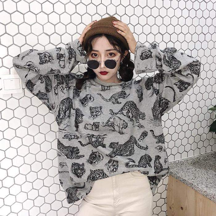 itGirl Shop ANIMAL PRINT LOOSE SWEATSHIRT