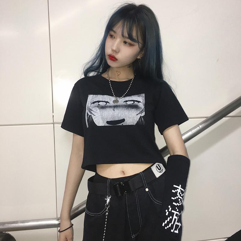 itGirl Shop ANIME COMIC PRINTED BLACK T-SHIRT WITH SLEEVES