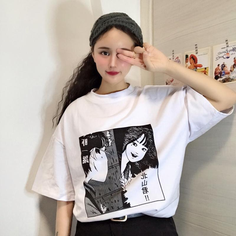 itGirl Shop ANIME COMIX LETTER PRINT GRAY WHITE OVERSIZED T-SHIRT