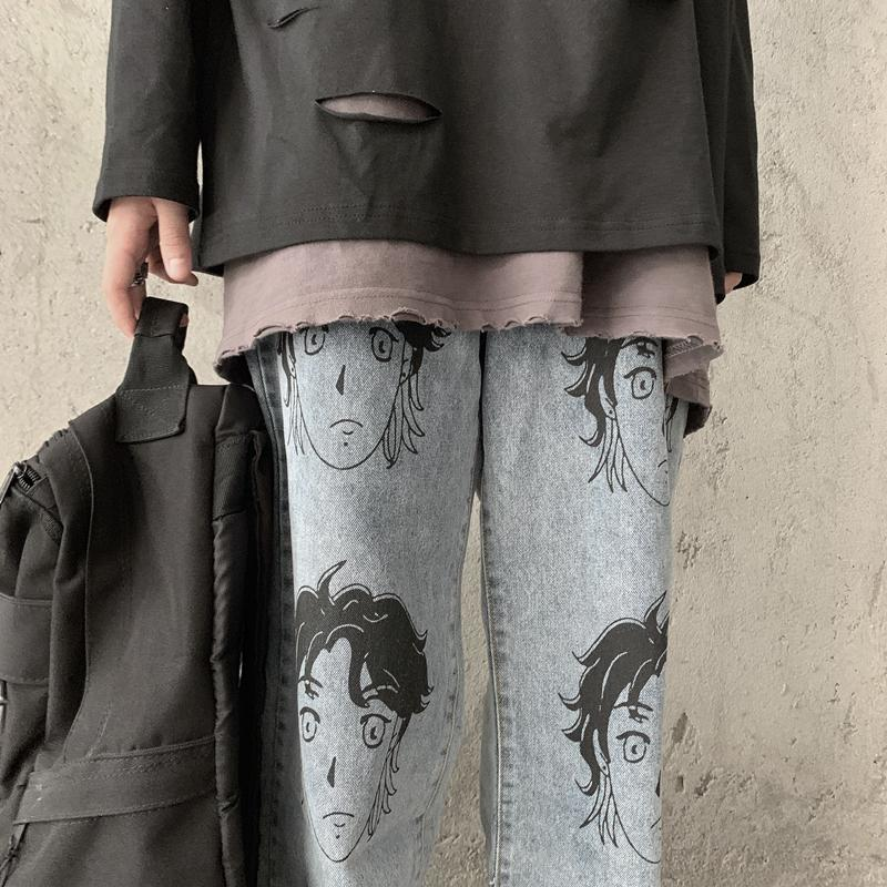 itGirl Shop ANIME FACE PRINT TUMBLR AESTHETIC LOOSE BLUE JEANS