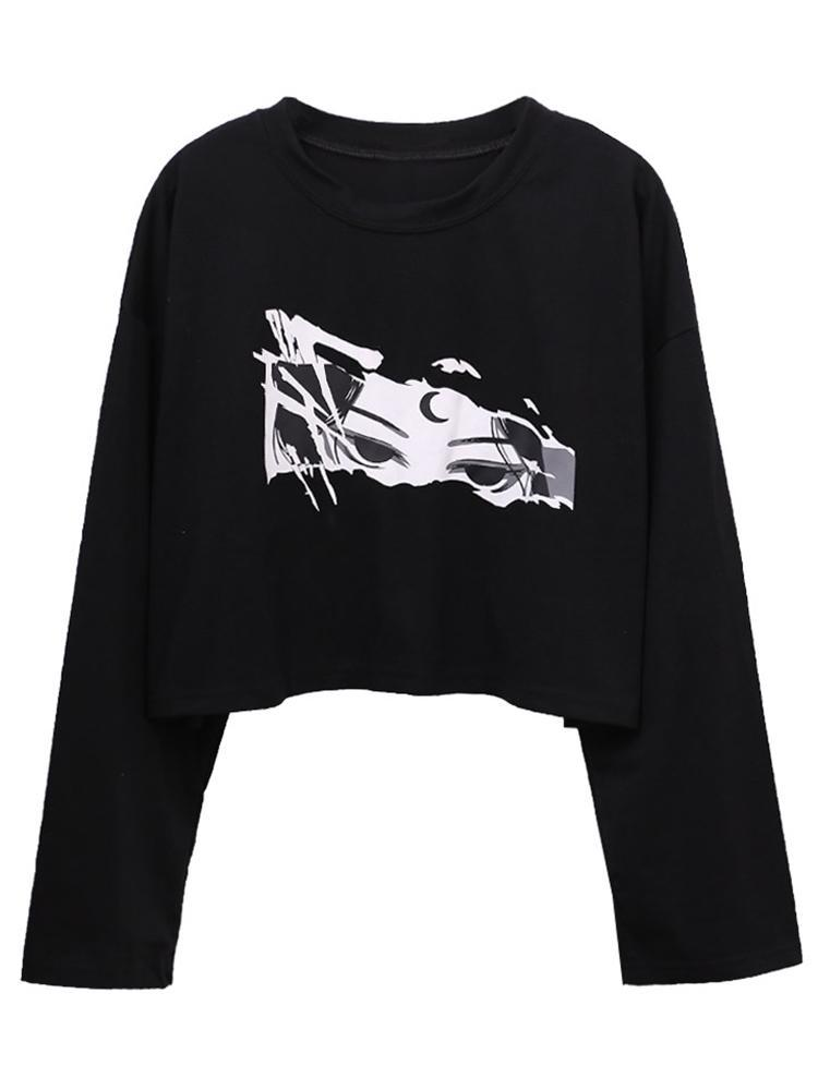 itGirl Shop ANIME GIRL EYES PRINT KAWAII THIN BLACK SWEATSHIRT