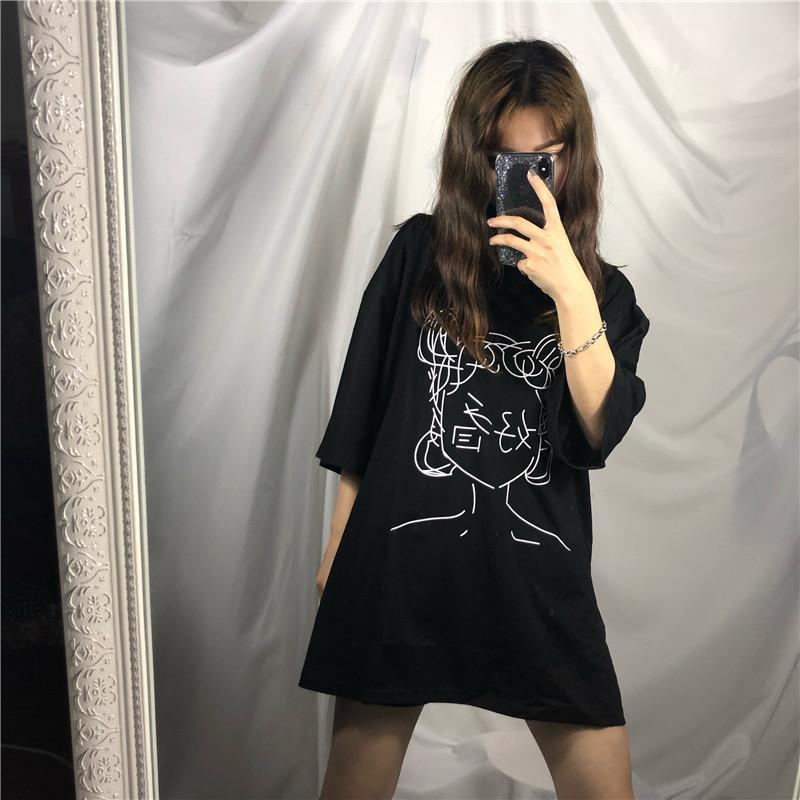 itGirl Shop ANIME LINE DRAWING JAPANESE CHARACTERS OVERSIZED WHITE T-SHIRT