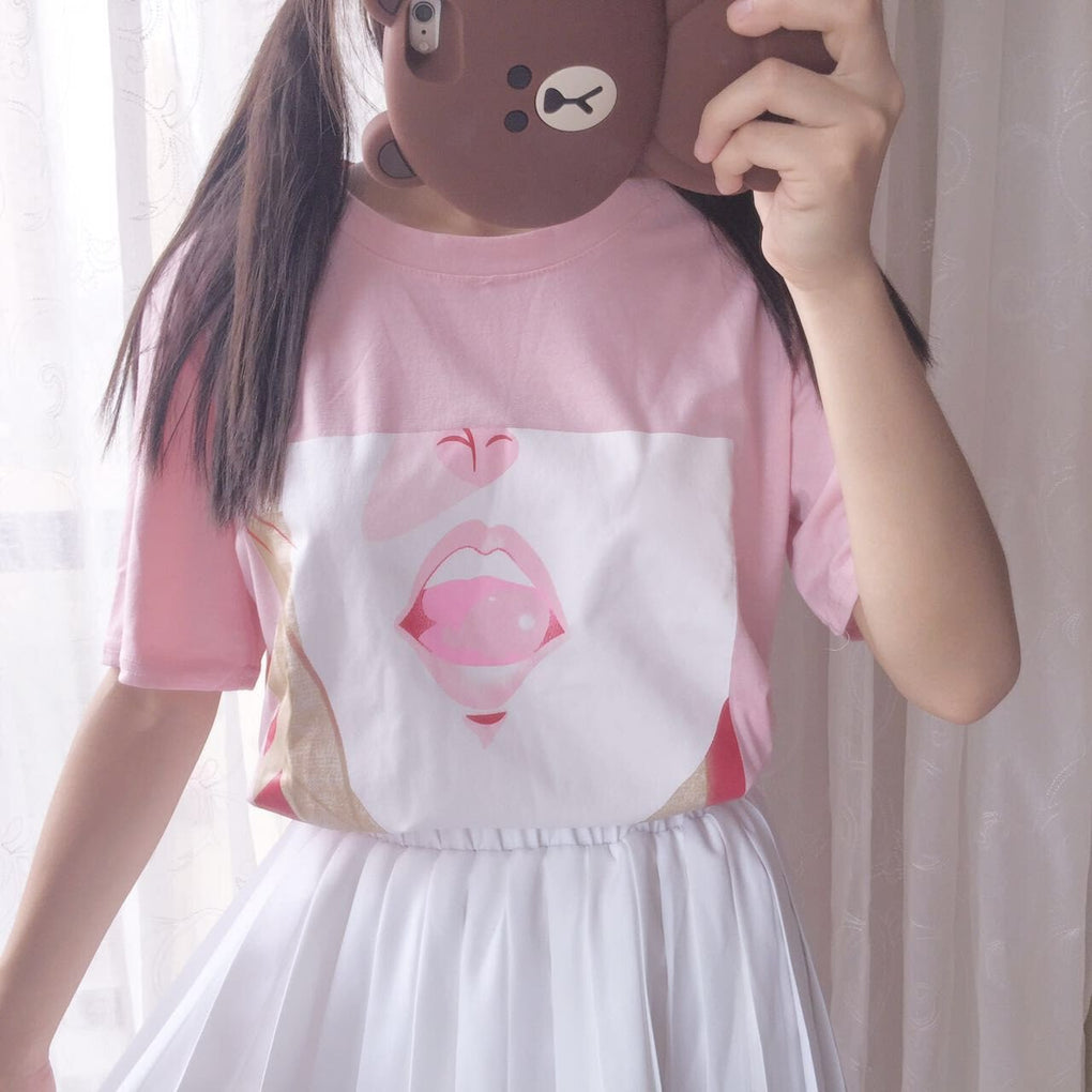 itGirl Shop ANIME LIPS PINK COTTON TSHIRT