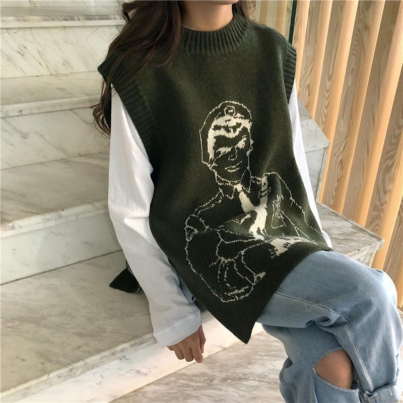 itGirl Shop ANIME MILITARY MAN KNIT SLEEVELESS VEST SWEATER