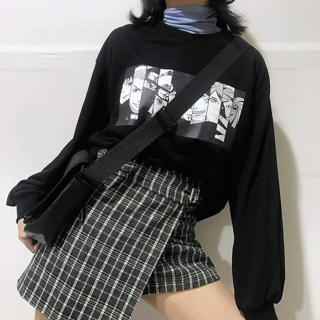 itGirl Shop ANIME PATCH BLACK OVERSIZED SWEATSHIRT